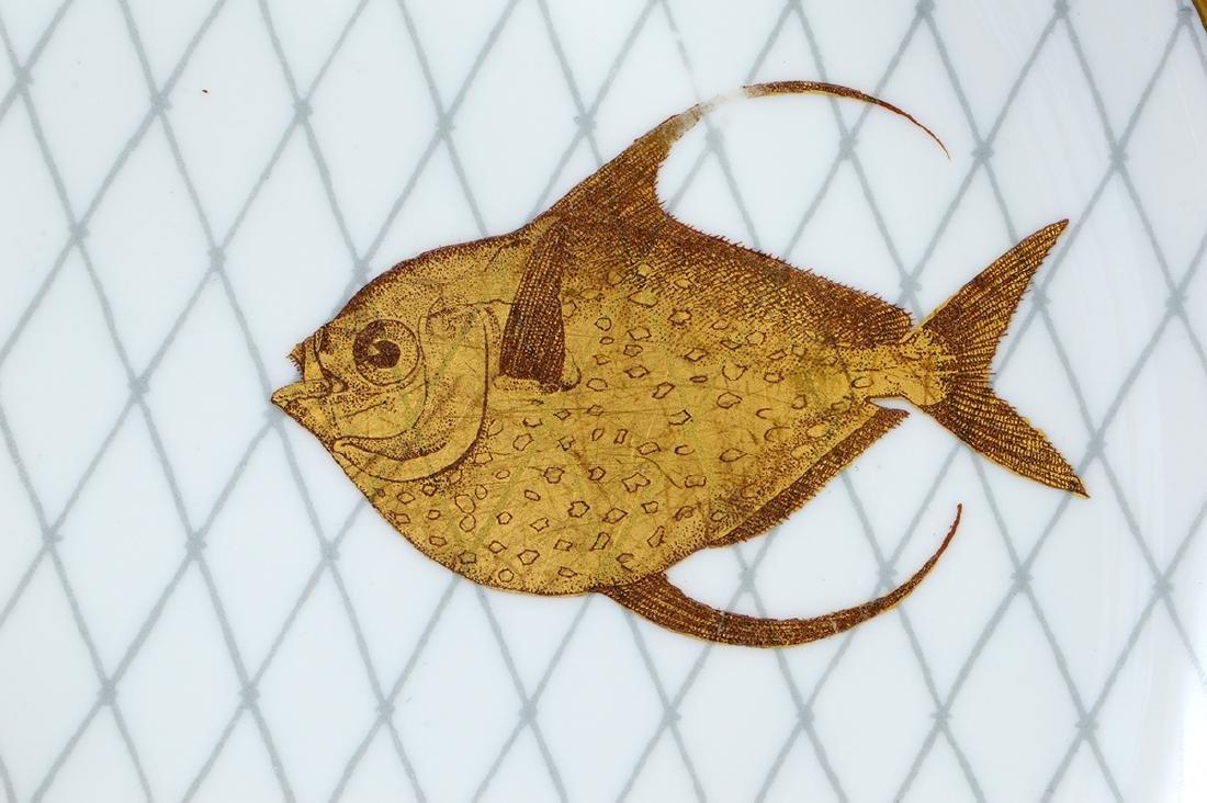 LIMOGES PORCELAIN PART GILT PORCELAIN FISH SERVICE - 6