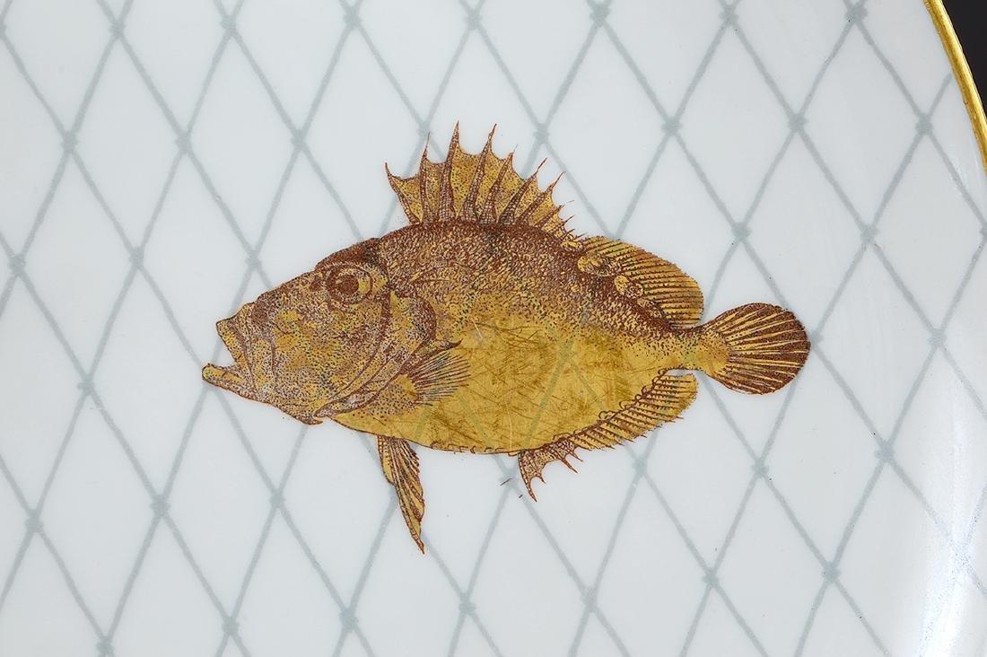 LIMOGES PORCELAIN PART GILT PORCELAIN FISH SERVICE - 7