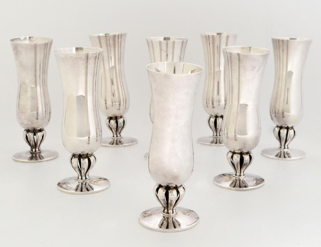 SET OF EIGHT DANISH STERLING SILVER GOBLETS