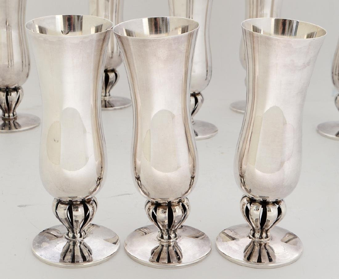 SET OF EIGHT DANISH STERLING SILVER GOBLETS - 4