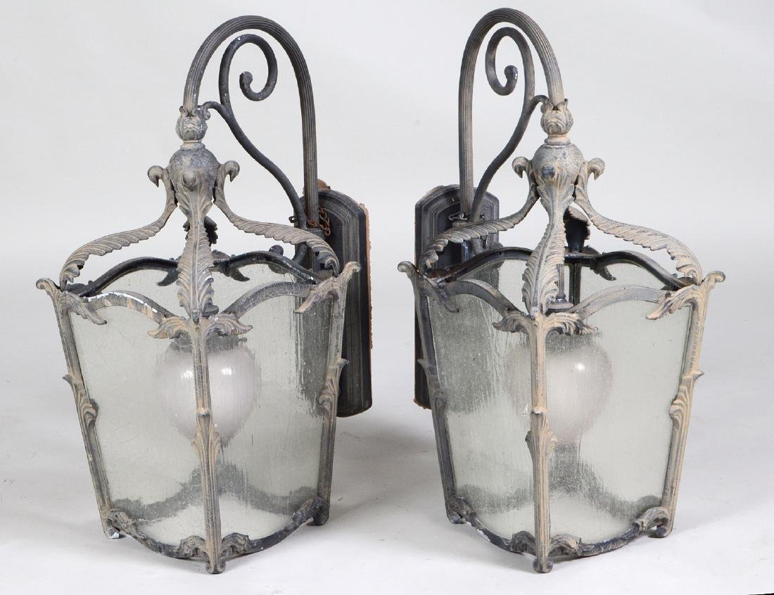 PAIR OF PATINATED METAL & GLASS COACH LANTERNS
