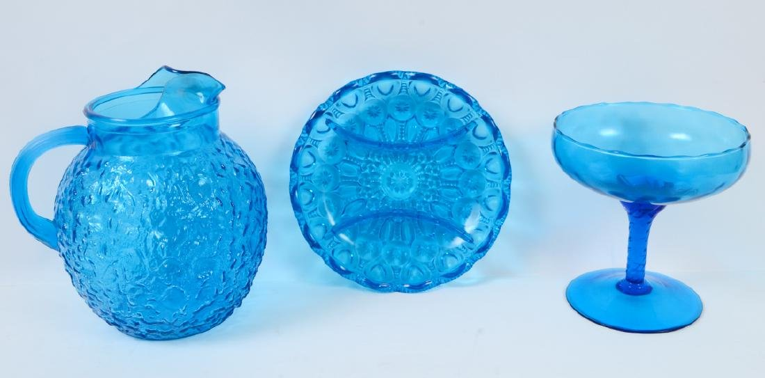 THIRTEEN MOLDED BLUE CARNIVAL GLASS TABLE ITEMS - 2