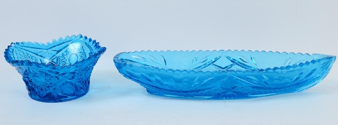THIRTEEN MOLDED BLUE CARNIVAL GLASS TABLE ITEMS - 4