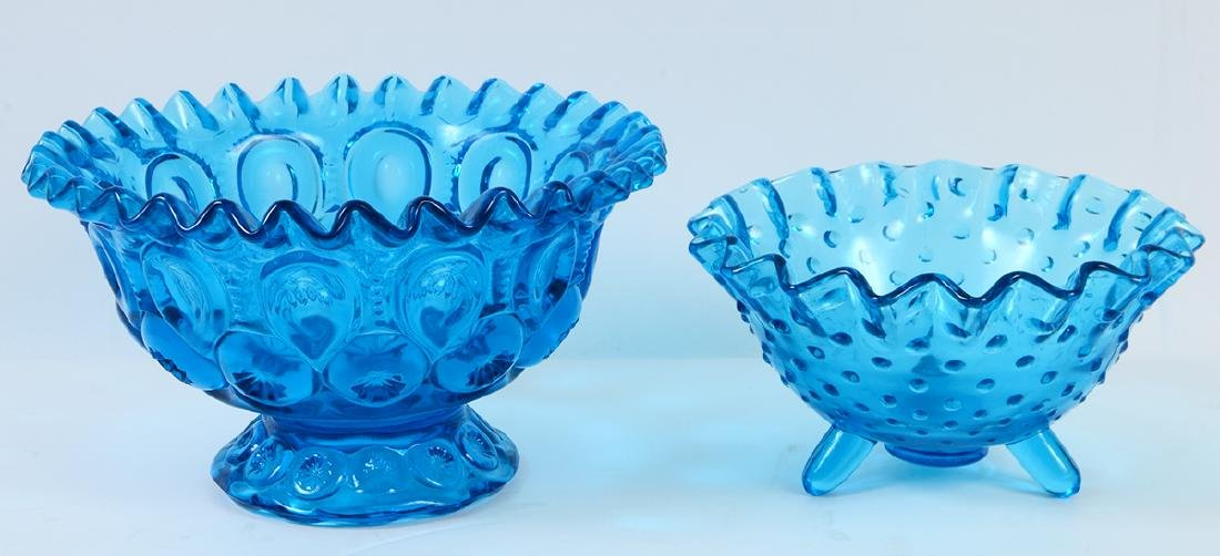 THIRTEEN MOLDED BLUE CARNIVAL GLASS TABLE ITEMS - 5