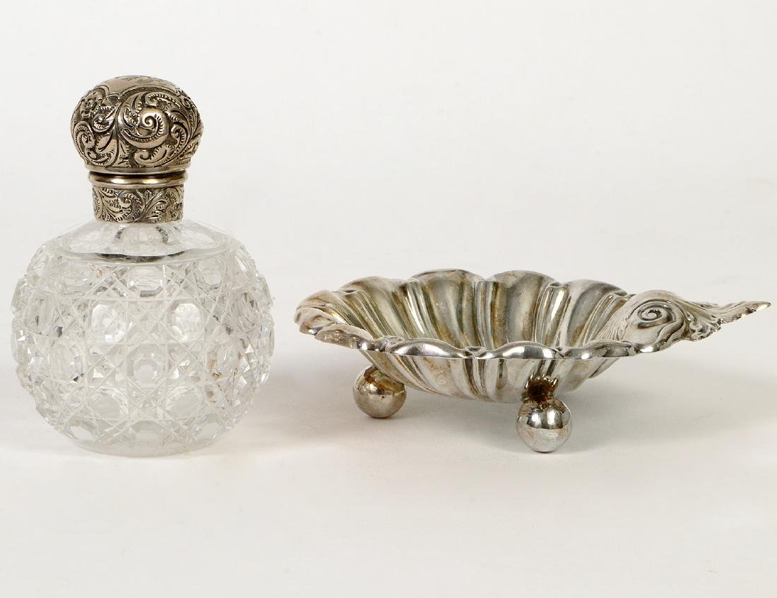 TWO ENGLISH STERLING DRESSING TABLE ITEMS