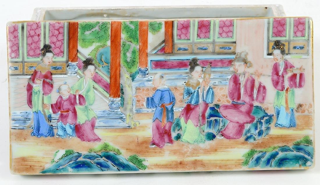 CHINESE FAMILLE ROSE PORCELAIN LIDDED BOX - 2