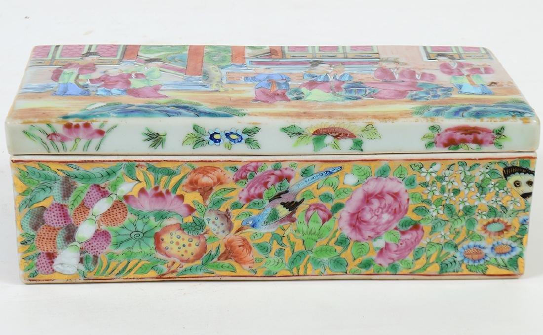 CHINESE FAMILLE ROSE PORCELAIN LIDDED BOX - 4
