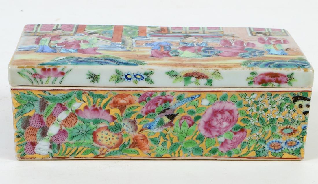 CHINESE FAMILLE ROSE PORCELAIN LIDDED BOX - 5