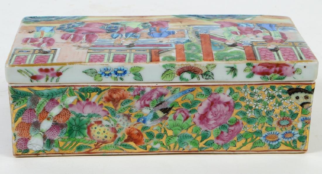 CHINESE FAMILLE ROSE PORCELAIN LIDDED BOX - 7