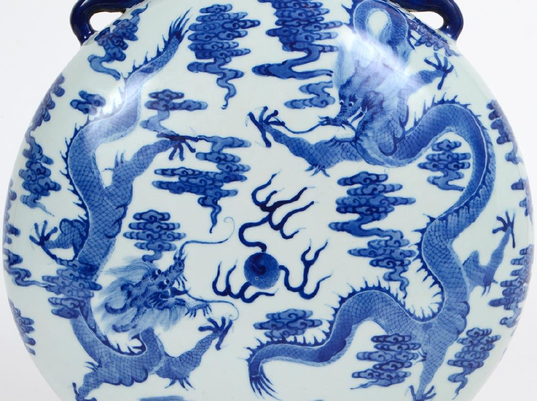 CHINESE MING STYLE BLUE & WHITE PORCELAIN MOON FLASK - 2