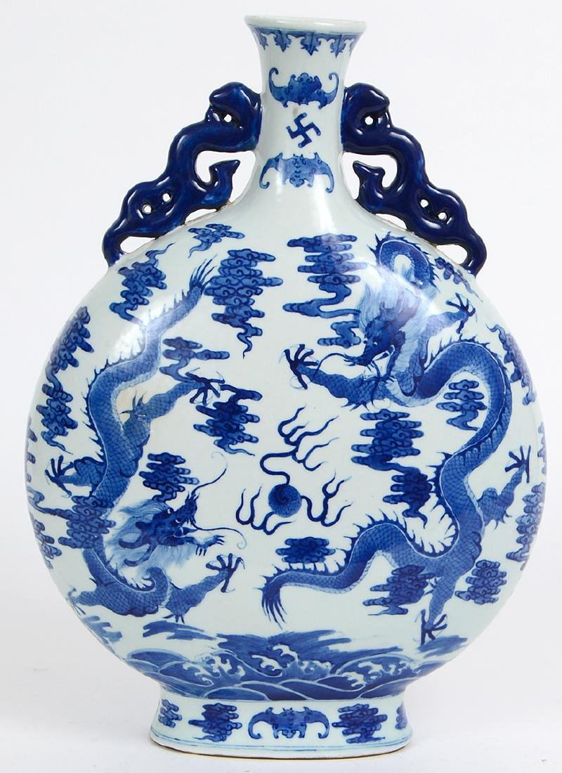CHINESE MING STYLE BLUE & WHITE PORCELAIN MOON FLASK - 6