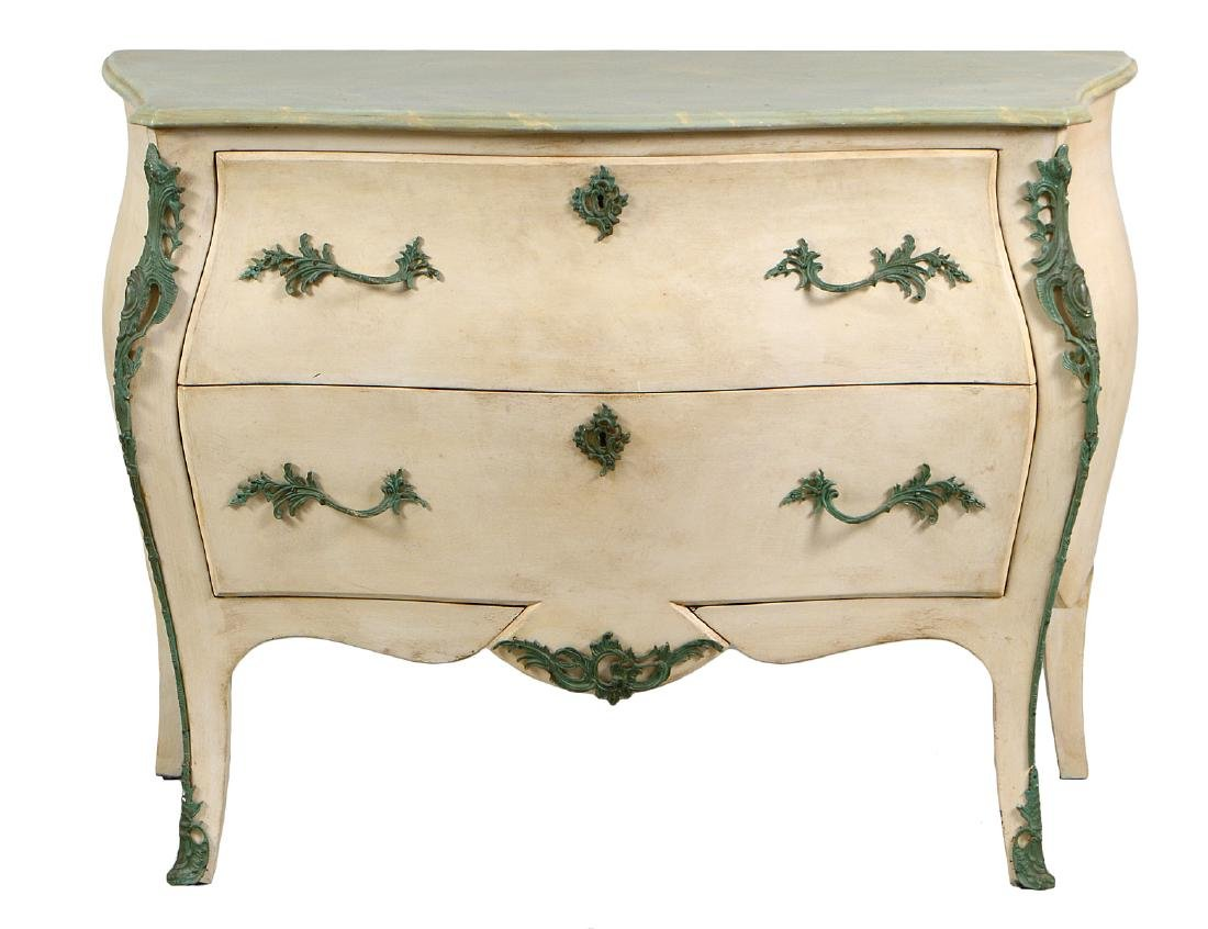 LOUIS XV STYLE PAINTED MARBLE TOP COMMODE