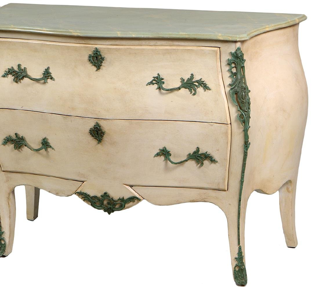 LOUIS XV STYLE PAINTED MARBLE TOP COMMODE - 2