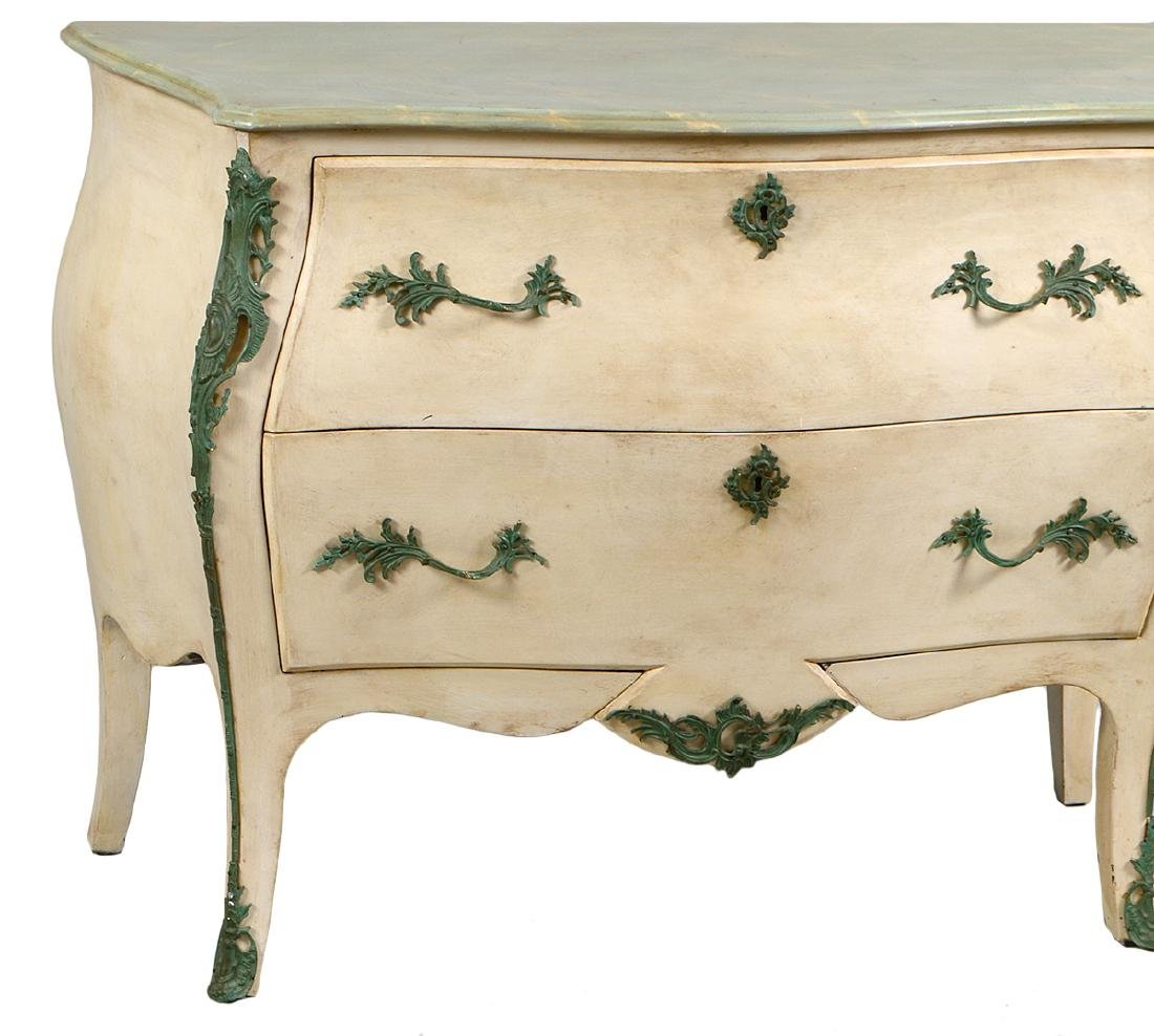 LOUIS XV STYLE PAINTED MARBLE TOP COMMODE - 3