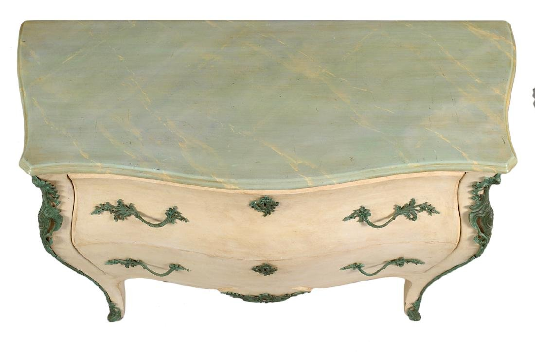 LOUIS XV STYLE PAINTED MARBLE TOP COMMODE - 4