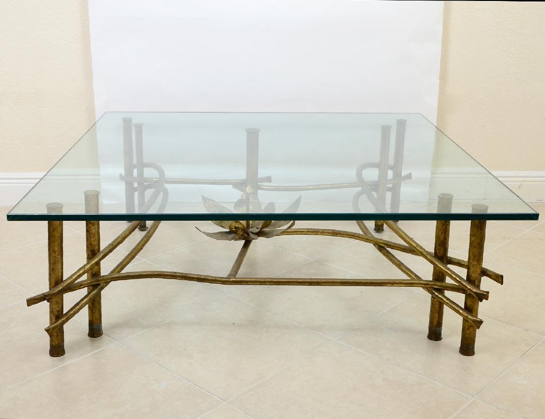 CONTEMPORARY GILT BRONZE & GLASS COCKTAIL TABLE