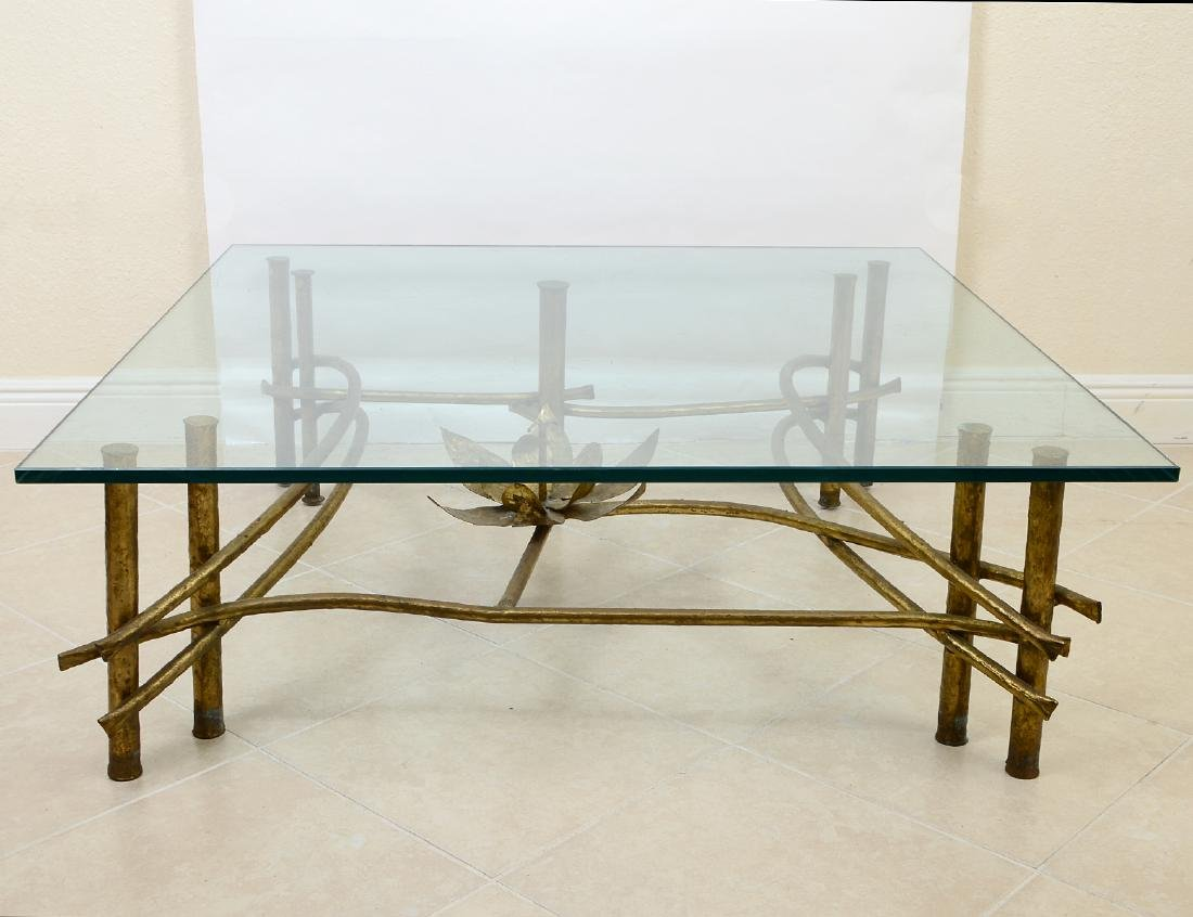 CONTEMPORARY GILT BRONZE & GLASS COCKTAIL TABLE