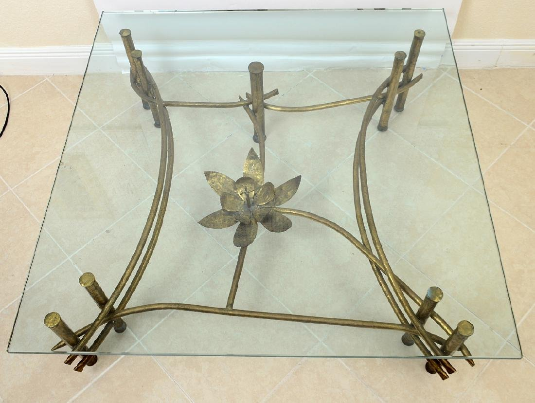 CONTEMPORARY GILT BRONZE & GLASS COCKTAIL TABLE - 2