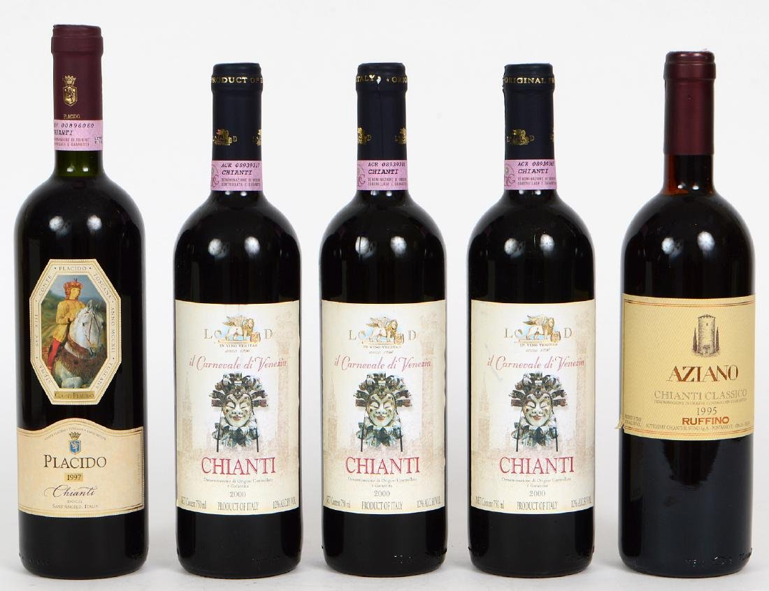 FIVE BOTTLES OF ITALIAN CHIANTI