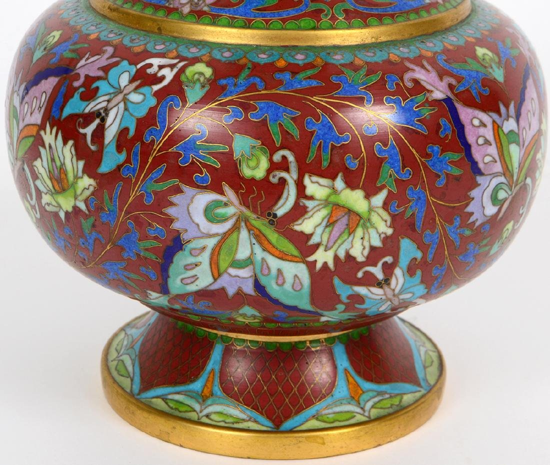 CHINESE ENAMEL ON BRASS CLOISONNE VASE - 4