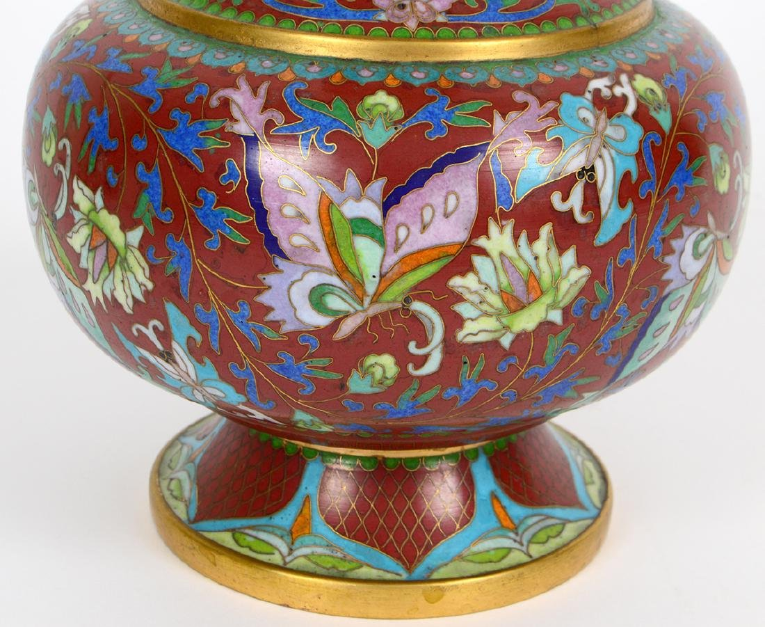CHINESE ENAMEL ON BRASS CLOISONNE VASE - 5