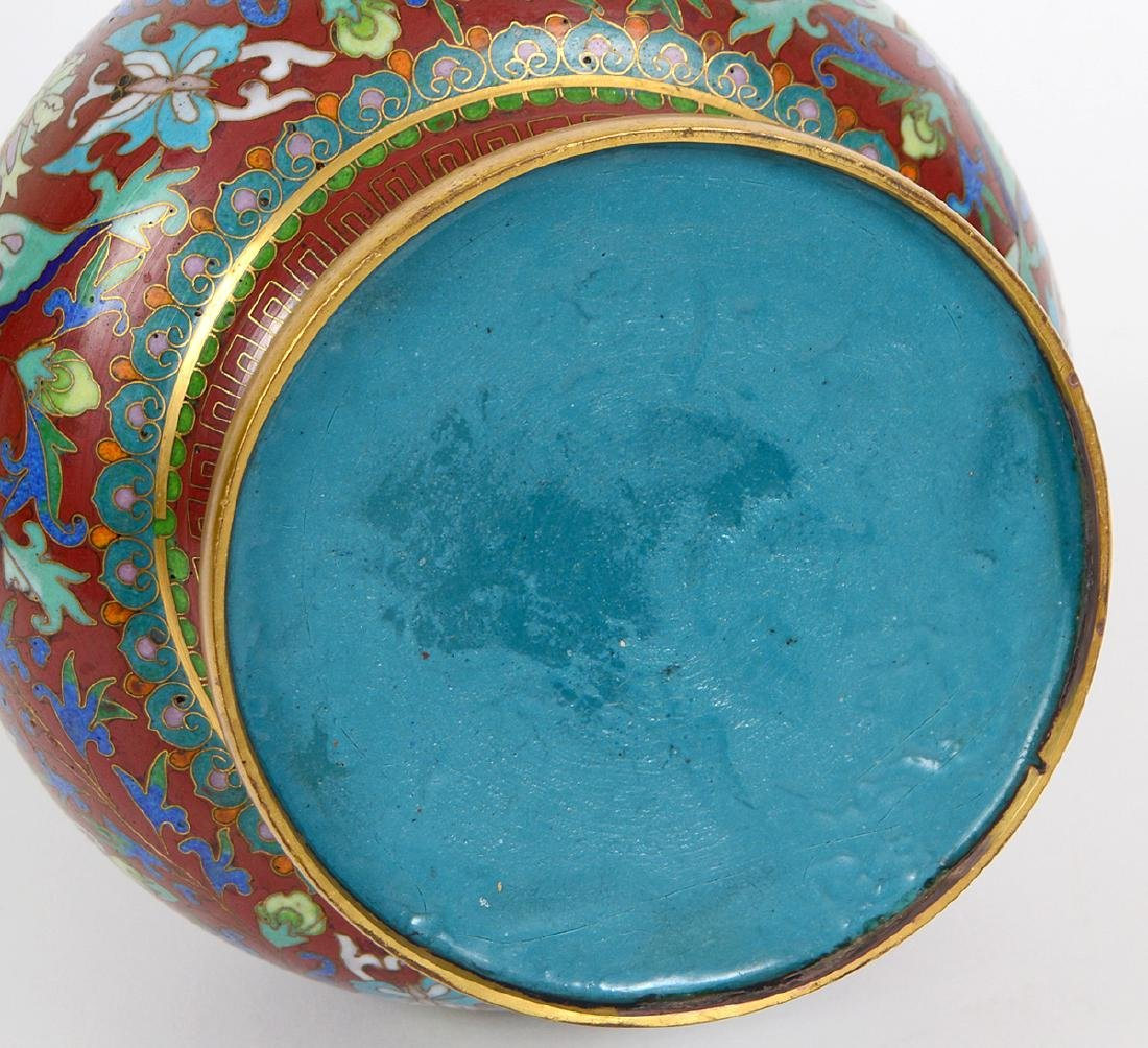CHINESE ENAMEL ON BRASS CLOISONNE VASE - 6