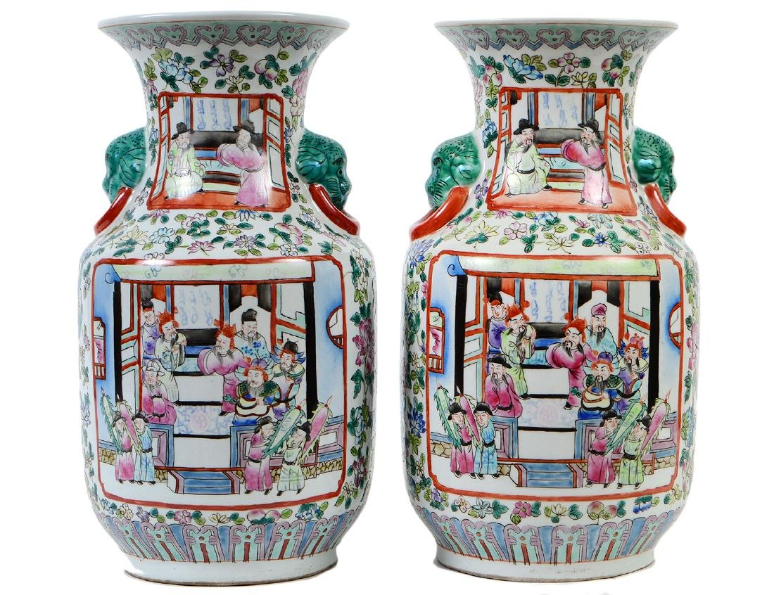 PAIR OF CHINESE FAMILLE ROSE DECORATED PORCELAIN VASES