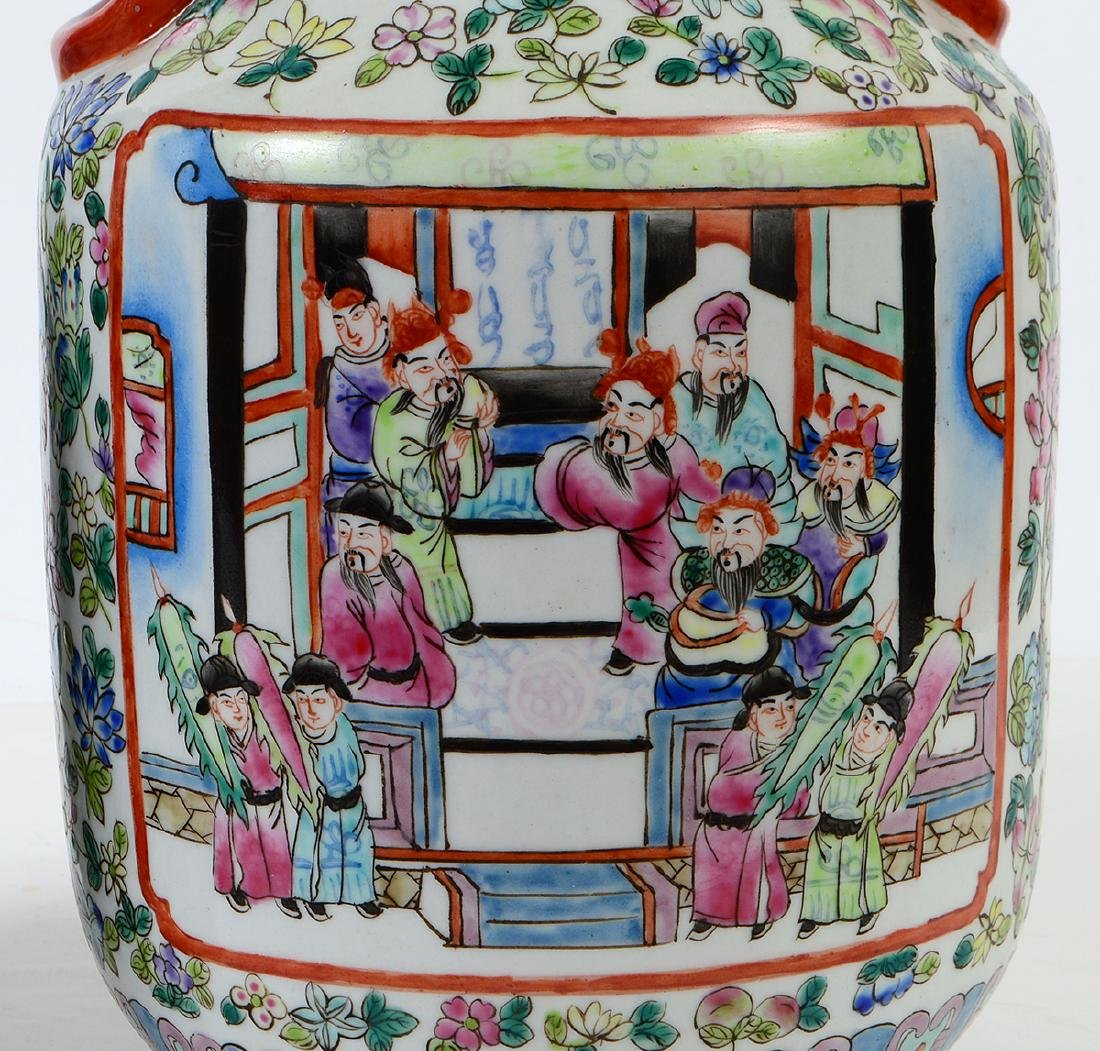 PAIR OF CHINESE FAMILLE ROSE DECORATED PORCELAIN VASES - 2
