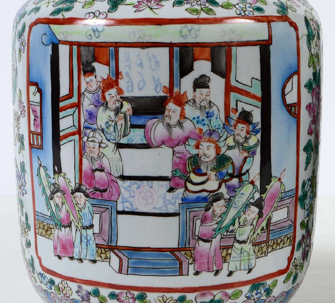 PAIR OF CHINESE FAMILLE ROSE DECORATED PORCELAIN VASES - 3