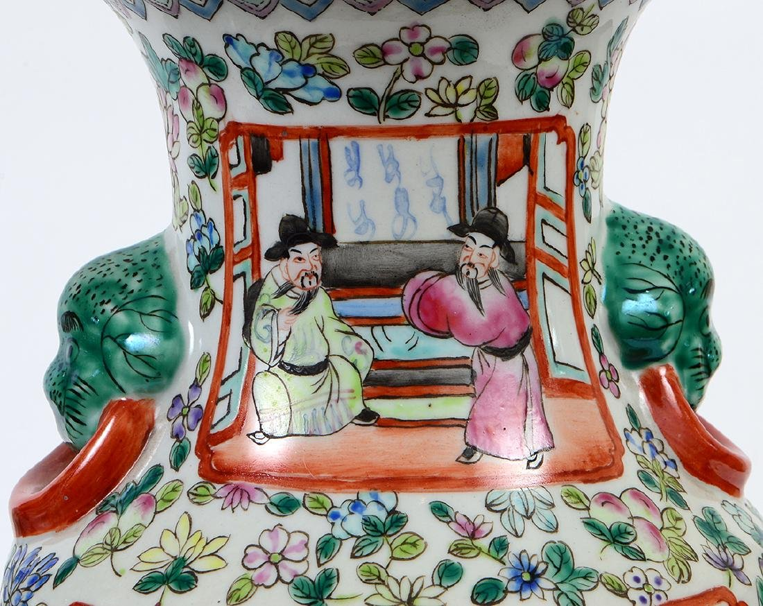 PAIR OF CHINESE FAMILLE ROSE DECORATED PORCELAIN VASES - 4
