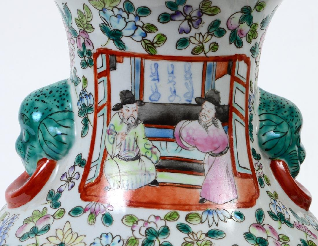 PAIR OF CHINESE FAMILLE ROSE DECORATED PORCELAIN VASES - 5