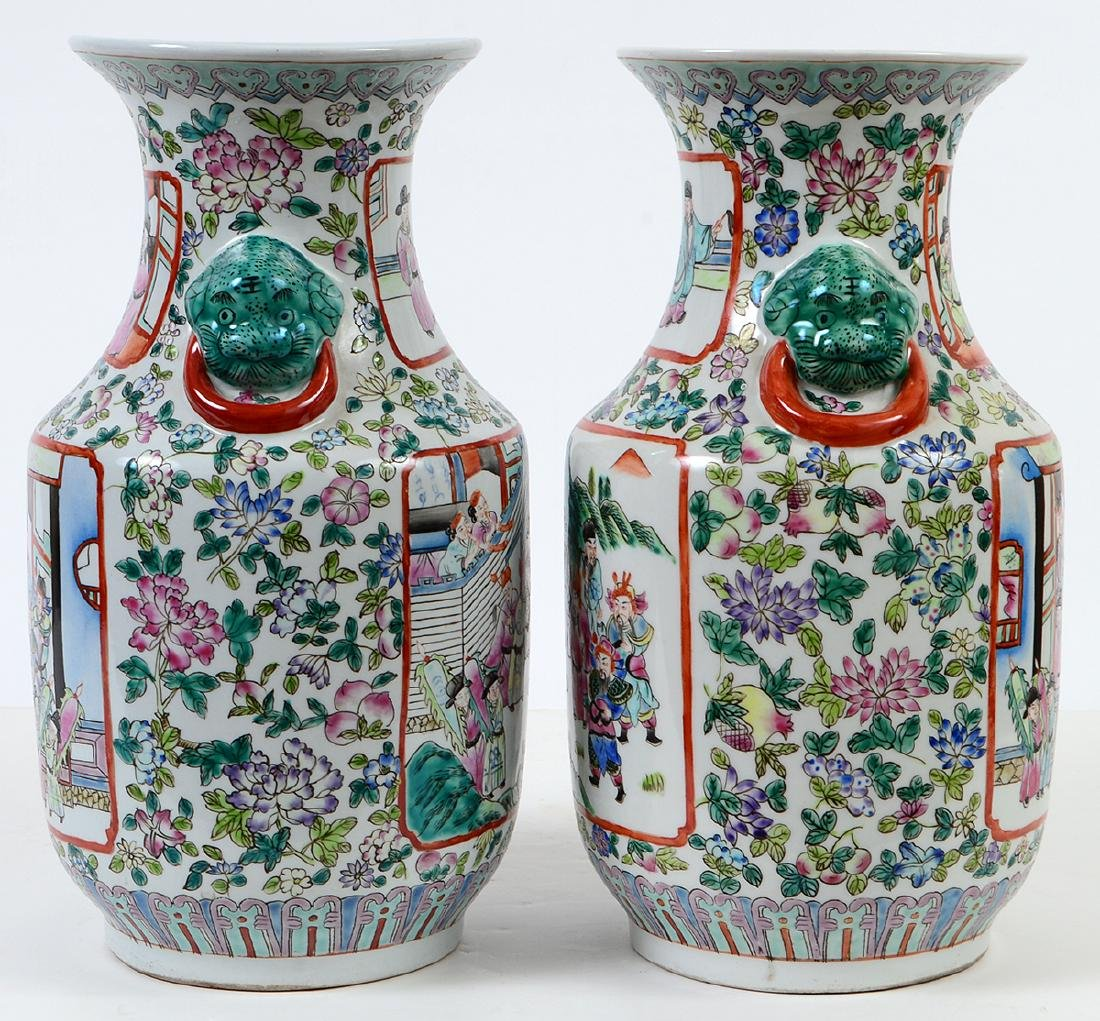 PAIR OF CHINESE FAMILLE ROSE DECORATED PORCELAIN VASES - 6