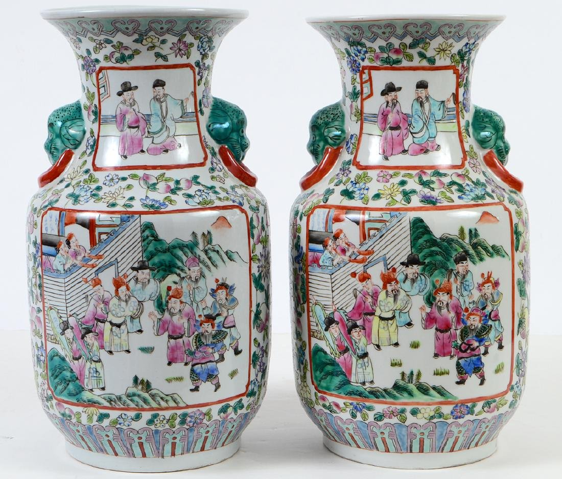 PAIR OF CHINESE FAMILLE ROSE DECORATED PORCELAIN VASES - 7