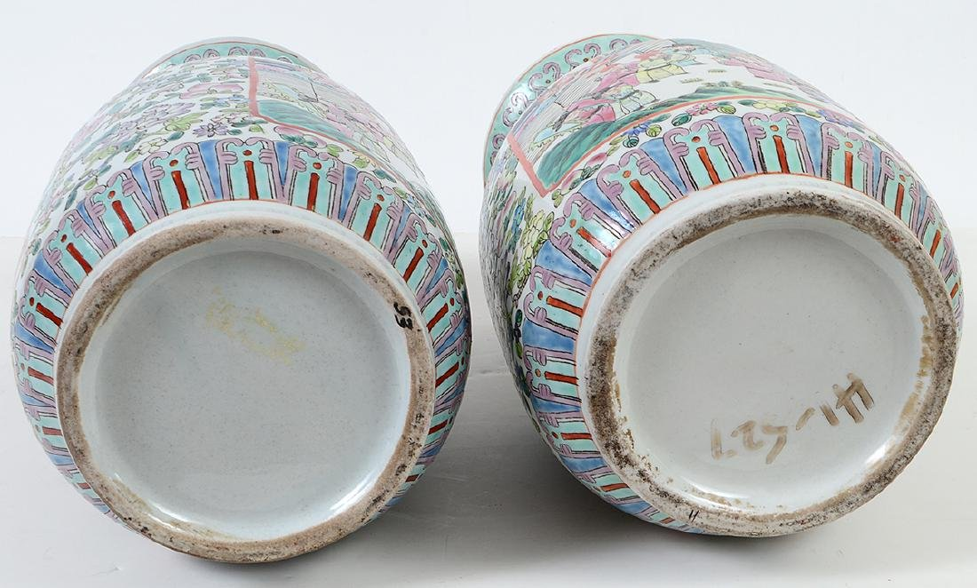 PAIR OF CHINESE FAMILLE ROSE DECORATED PORCELAIN VASES - 8