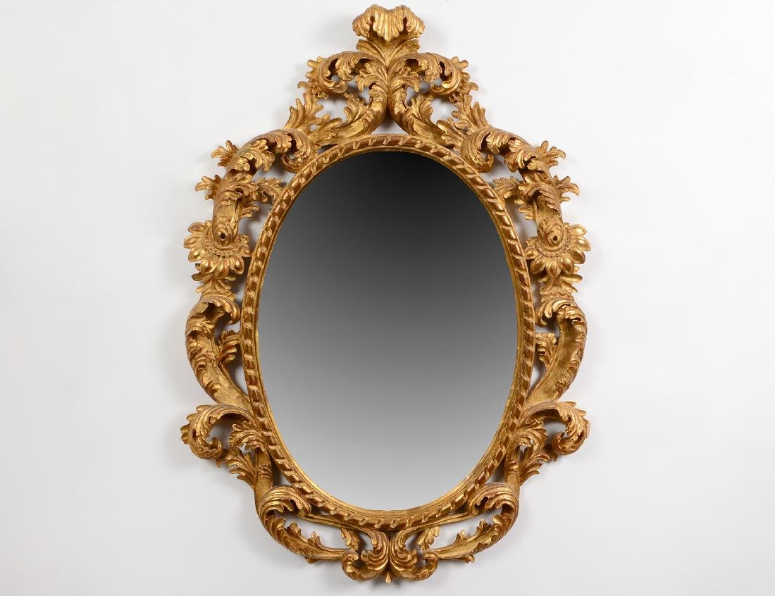 ROCOCO STYLE GILTWOOD OVAL MIRROR