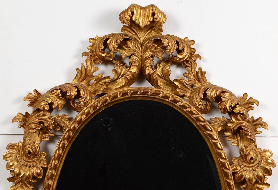 ROCOCO STYLE GILTWOOD OVAL MIRROR - 2