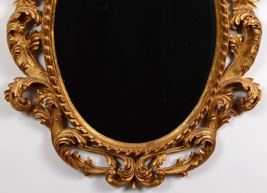 ROCOCO STYLE GILTWOOD OVAL MIRROR - 3