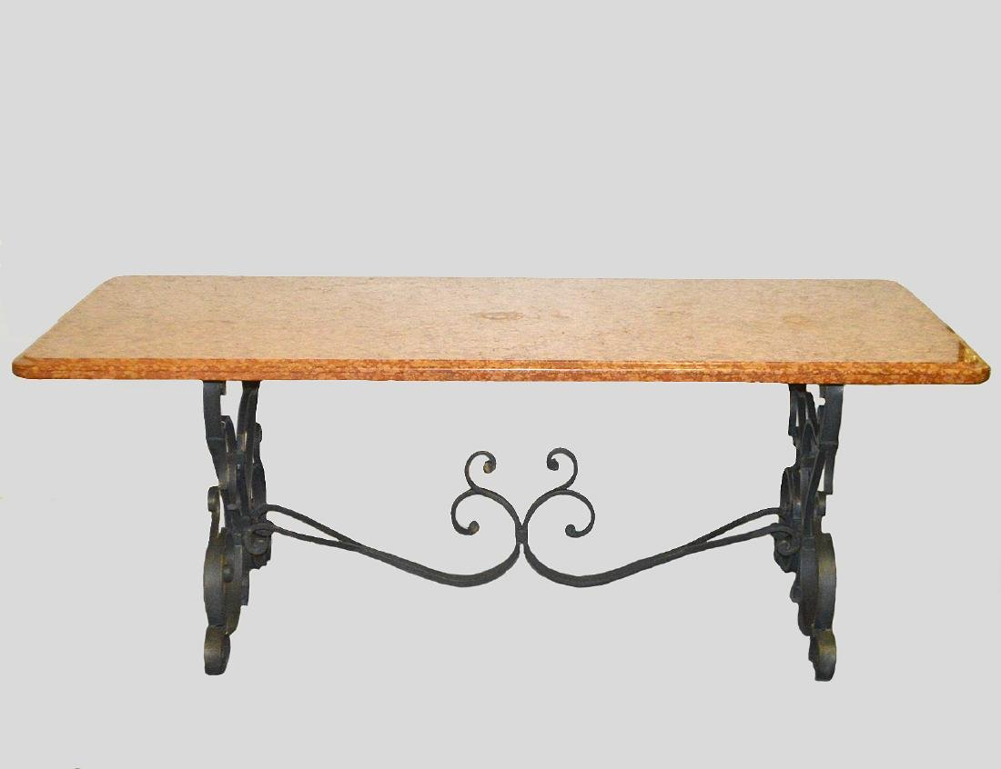 FRENCH MARBLE TOP WROUGHT IRON CENTER TABLE