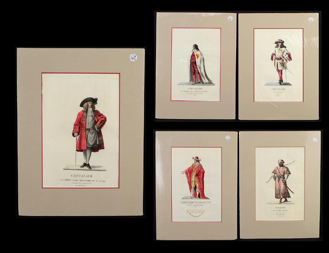 GROUP OF FIVE FRENCH 18th CENTURY HAND COLORED PRINTS