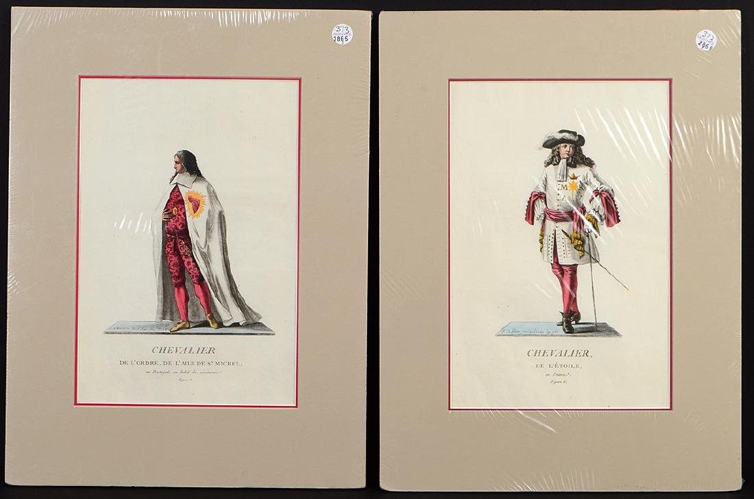 GROUP OF FIVE FRENCH 18th CENTURY HAND COLORED PRINTS - 2