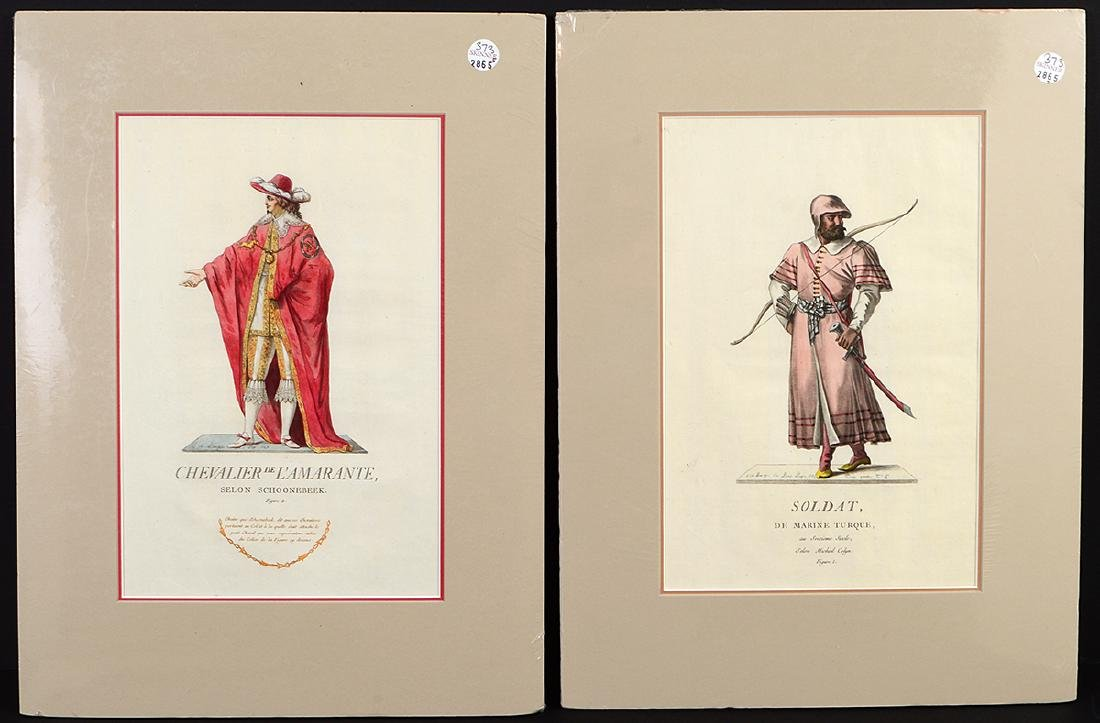 GROUP OF FIVE FRENCH 18th CENTURY HAND COLORED PRINTS - 5