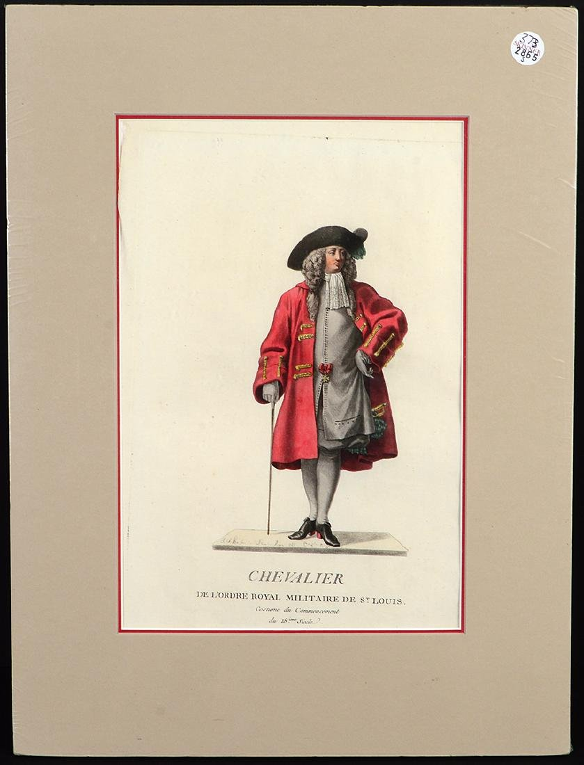GROUP OF FIVE FRENCH 18th CENTURY HAND COLORED PRINTS - 8