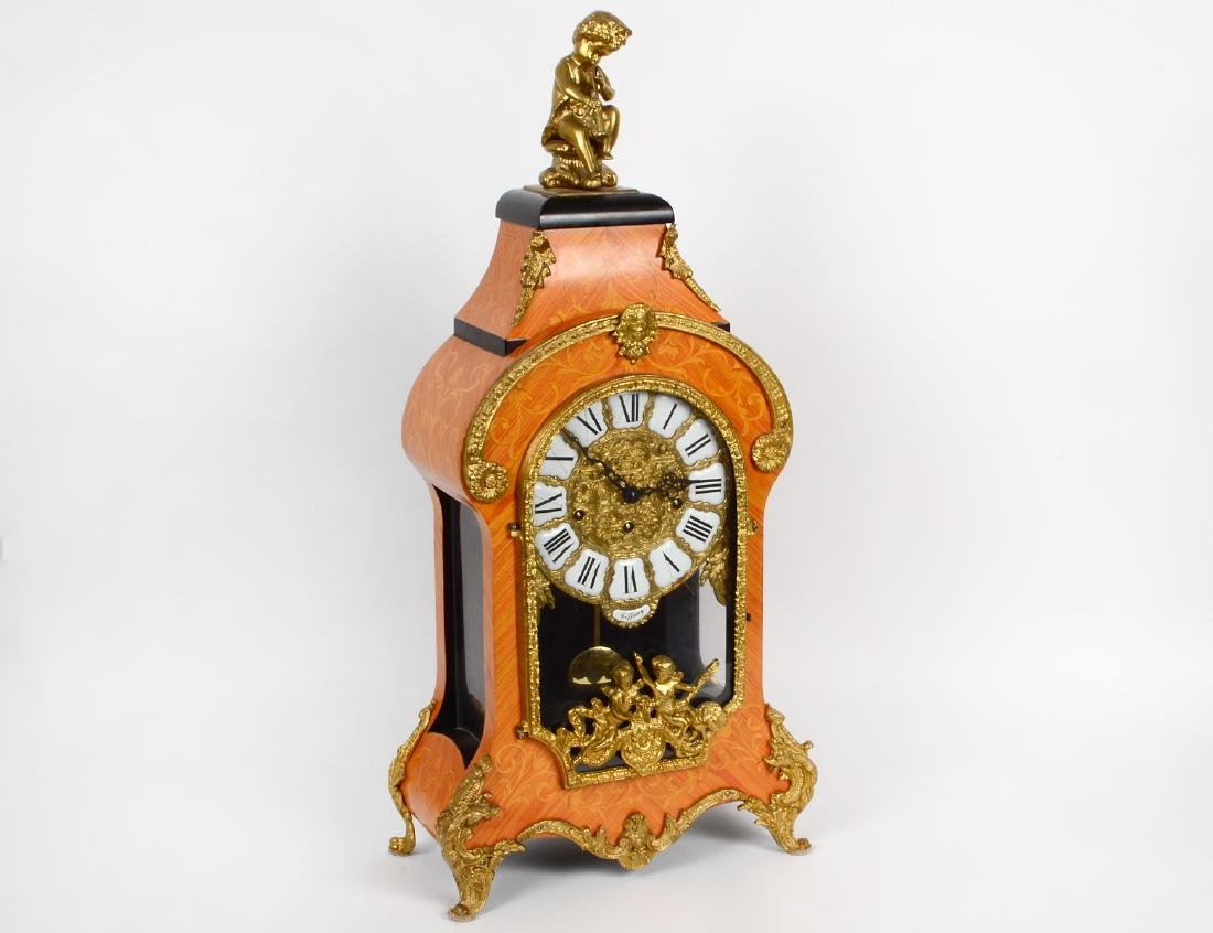 BRONZE MOUNTED FAUX MARQUETRY CARTEL CLOCK