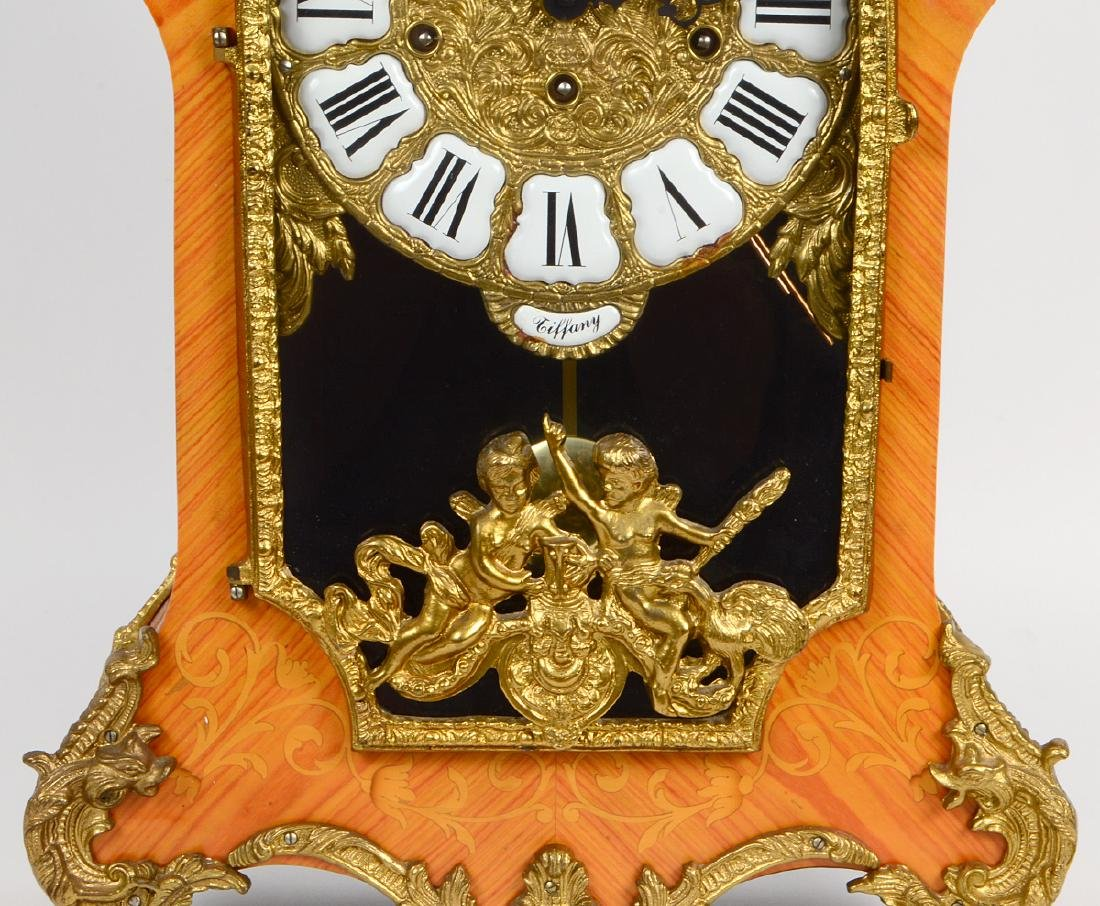 BRONZE MOUNTED FAUX MARQUETRY CARTEL CLOCK - 8