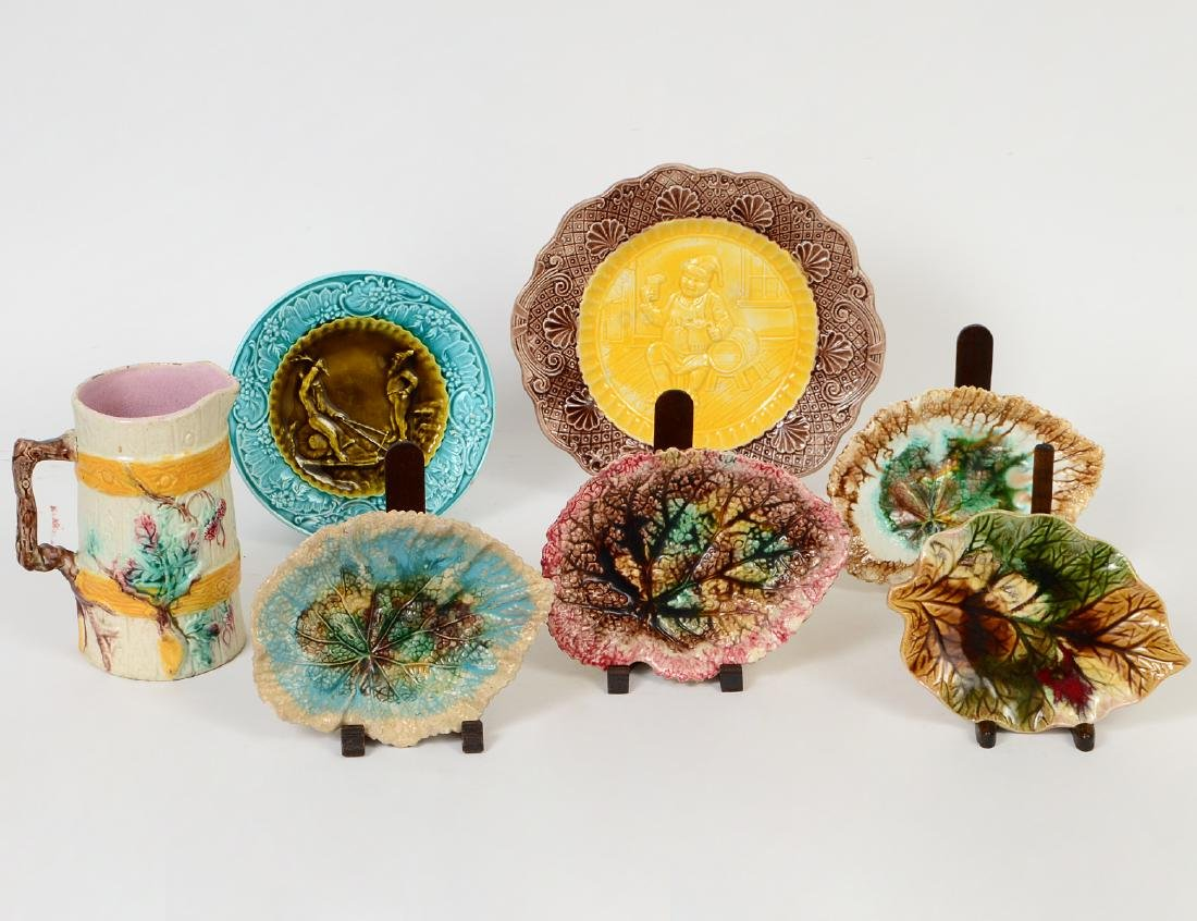 FOUR MAJOLICA LEAF DISHES, TWO FIGURAL DISHES & A