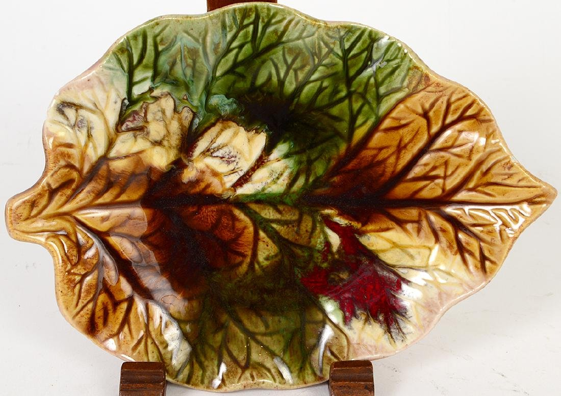 FOUR MAJOLICA LEAF DISHES, TWO FIGURAL DISHES & A - 6