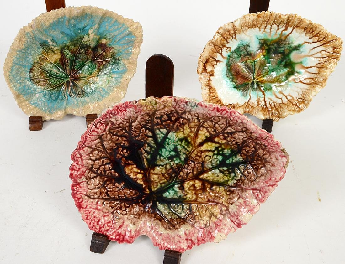 FOUR MAJOLICA LEAF DISHES, TWO FIGURAL DISHES & A - 8