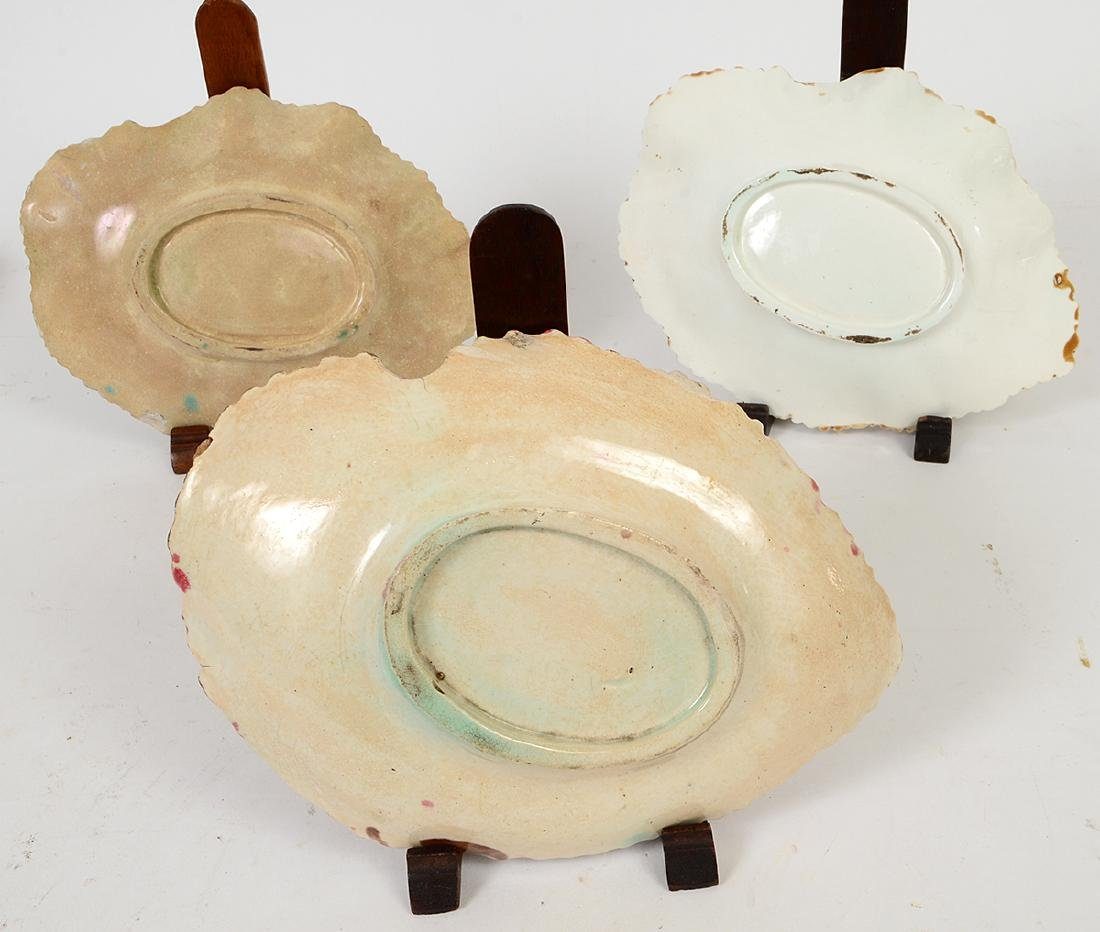 FOUR MAJOLICA LEAF DISHES, TWO FIGURAL DISHES & A - 9