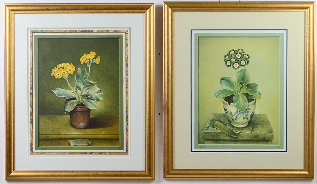 NINE OFFSET LITHOGRAPHS OF POTTED FLOWERS - 2