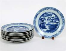 TEN CHINESEEXPORT BLUE AND WHITE PORCELAIN PLATES